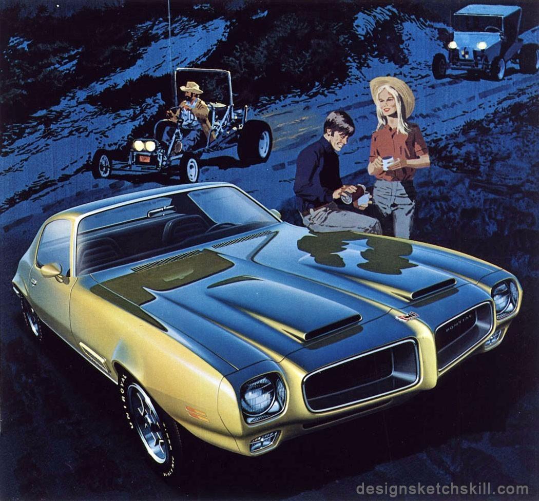 复古汽车手绘图